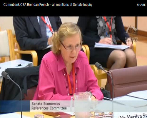 Commbank CBA Brendan French – all mentions at Senate Inquiry