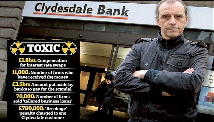 Toxic: John Glare has formed an action group of 135 small firms, which claim their businesses were destroyed or devastated after taking out 'tailored business loans' with Clydesdale.