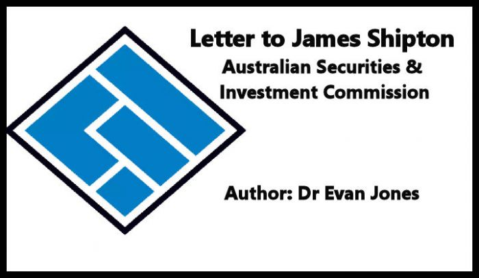 Letter to James Shipton, Chair of ASIC