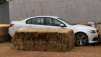The now infamous car used by receivers that was blocked in by straw bales on Bruce Dixon's farm last year.